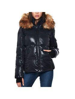 S13 Women's Kelly Hip Length Down Puffer Faux Fur Hood