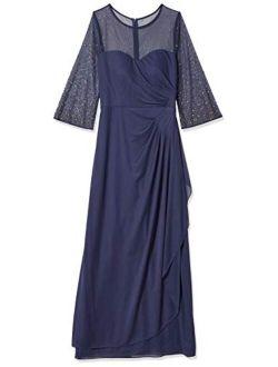 Women's Long A Line Illusion Sweetheart Neck Dress (petite And Regular)
