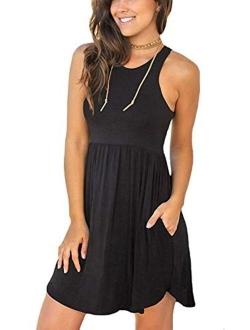 WNEEDU Women's Summer Casual T Shirt Dresses Beach Cover up Plain Pleated Tank Dress