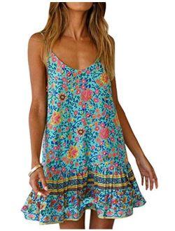 Womens Boho Floral Printed Dress Summer Casual Spaghetti Strap Beach Mini Dress with Pockets