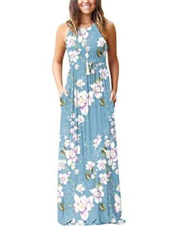 Sleeveless Floral Print Racerback Loose Plain Summer Casual Long Maxi Dresses With Pockets