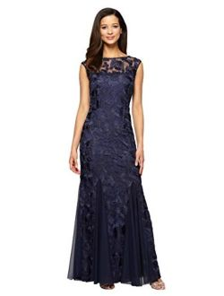 Long Embroidered Fit-and-flare Dress With Godet Detail Skirt And Shawl