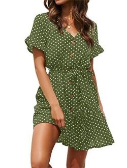 SAIKESIGIRL Womens Polka Dot Button Down Dress Boho Short Sleeve Ruffle Mini Dresses with Belt