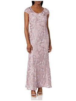 Women's Long A-line Rosette Dress