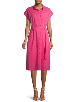 Women's Eyelet Belted Midi Shirt Dress