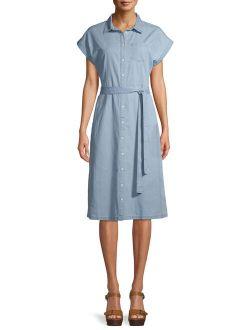 Women's Denim Belted Midi Shirt Dress