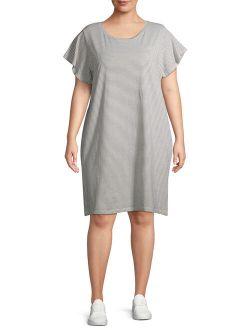 Women's Plus Size Everyday Flutter Sleeve T-shirt Dress