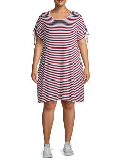 Women's Plus Size Ruched Short Sleeve Striped T-shirt Dress