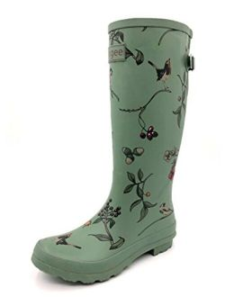 Rongee Women's Rubber Rain Boots Mid Calf with Adjustable Gusset Oxford Bag Packed