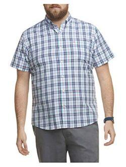 Men's Big And Tall Breeze Short Sleeve Button Down Plaid Shirt