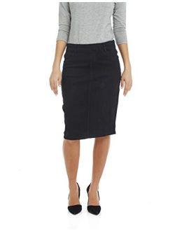 ESTEEZ Women's Denim Skirt - Modest - Straight Cut Knee Length - Stretch Jean - Manhattan