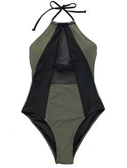 Women's Take My Heart Mesh One-piece Swimsuit Beach Swimwear Bathing Suit
