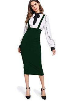 Milumia Women Strap Slit Back High Waist Pencil Bodycon Suspender Pinafore Skirt