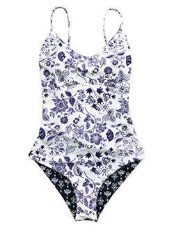 Light Up The Night Print One-piece Swimsuit Beach Swimwear Bathing Suit