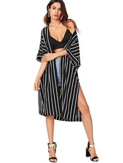 Women's Striped Beach Wear Cover Up Longline Kimono Cardigan