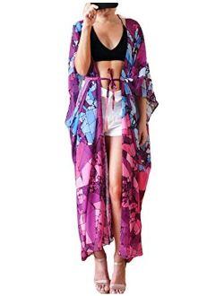 Eddoyee Women's Flowy Open Front Swimsuit Cover Ups Print Beach Kimono