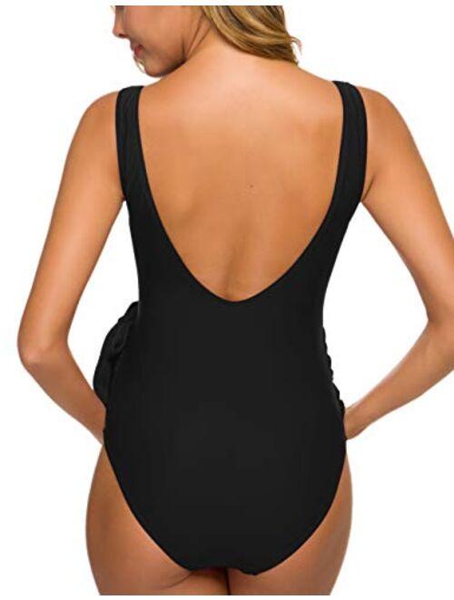 Tempotrek Maternity Swimsuit One Piece ElegantV Neck Pregnancy Swimwear Tie Front High Cut Bathing Suit Monokini
