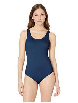 Ribbed One-piece Swimsuit, Classic Bathing Suit, Women's Swimwear