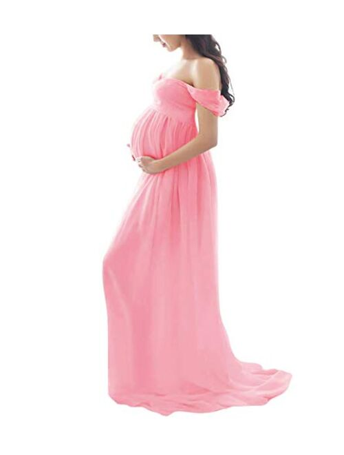 Maternity Dress for Photography Off Shoulder Chiffon Gown Front High Slit Maxi Pregnancy Dresses for Photoshoot