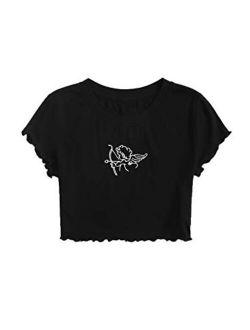 Women's Cactus Print Crop Top Summer Short Sleeve Graphic T-shirts