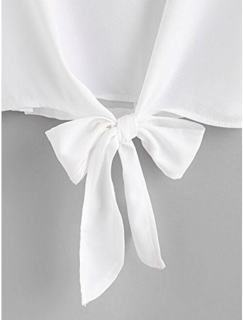 SweatyRocks Women's Summer Short Sleeve Crop Top T-Shirt Tie Front Blouse Top