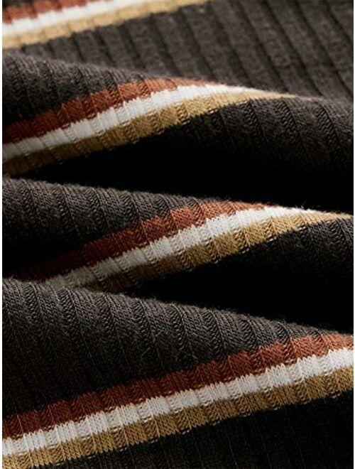 SweatyRocks Women's Basic Short Sleeve V Neck Ribbed Knit Crop Top Tee Shirt