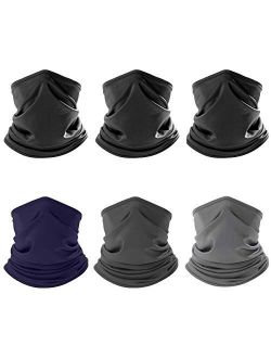 IRELIA 6 Pack Neck Gaiter Scarf Headwear Breathable Bandana