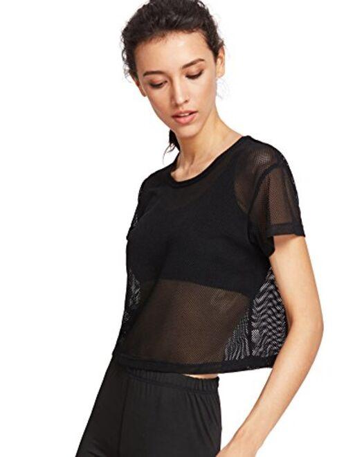 SweatyRocks Women's Sexy Sheer Mesh Fishnet Net Short Sleeve T-Shirt Crop Top