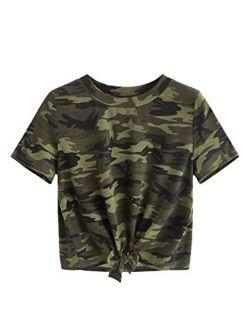 Women's Short Sleeve Tie Dye Tie Hem Summer Crop T-shirt Tops Blouse