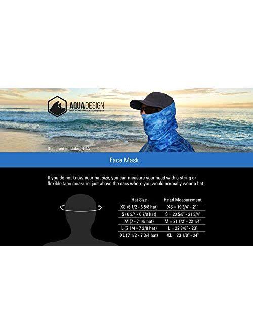 Aqua Design Fishing Hunting Masks Neck Gaiters for Men and Youth: UPF 50+ Sun Mask Protection: Camo Half Face Cover Balaclava Bandana