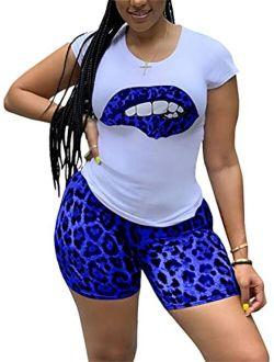 Elosele Women 2 Piece Outfit Short Sleeve Red Lip Leopard Tongue Print T-Shirt Bodycon Shorts Set Tracksuit Jumpsuit