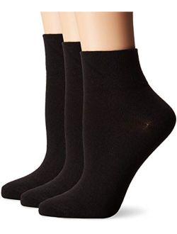 No Nonsense Women's Flat Knit Ankle Socks 3-Pack