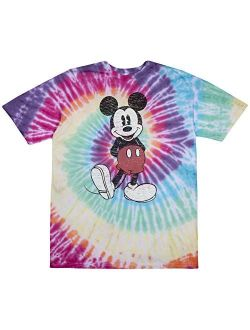 Men's Cotton Short Sleeve Crew Neck Full Size Mickey Mouse Distressed Look Tie Dye T-shirt