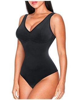 Women Waist Trainer Shapewear Slim Body Shaper Sexy Deep V Neck Thong Bodysuit Tummy Control Jumpsuit Tops