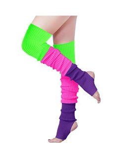 v28 Women Girls Thigh High Neon Ribbed Long 80s 90s Party Skating Leg Warmers