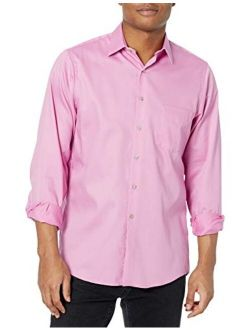Men's Solid Regular Fit Lux Stretch Long Sleeve Dress Shirts