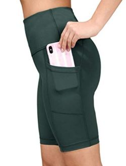 """Yogalicious High Waist Squat Proof 9"""" Biker Shorts with Side Pockets for Women"""