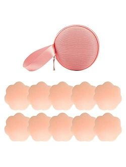 NippleCovers, Silicone Nippleless Cover Reusable Adhesive Bra Breast Pasties (5 Pairs Flower)