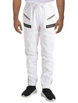 Vibes Men's White Twill Moto Zipper Cargo Pocket Zipper Leg Open Jogger Pants
