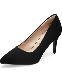 VEPOSE Women's Stiletto Low Heel Pumps Pointed Toe Slip on Formal Party Dress Shoes for Women
