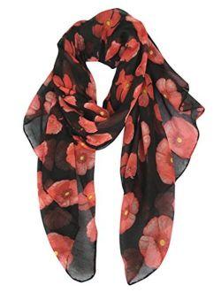 GERINLY Red Poppy Flower Scarfs for Women Lightweight Florals Shawl Wraps