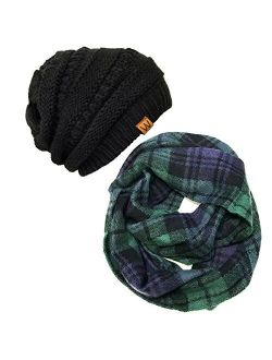Wrapables Unisex-Adult's Plaid Print Infinity Scarf and Beanie Hat Set