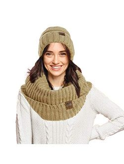 Womens Thick Knit Infinity Loop Scarf And Beanie Hat Set, Warm For The Winter In 6 Colors By Debra Weitzner