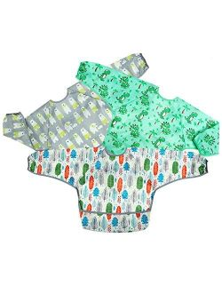 PandaEar Long Sleeve Bib 3-Pack Set  Baby & Toddler Waterproof Bibs Smock with Pocket and Crumb Catcher  Washable Stain and Odor Resistant Apron   6-30 Months
