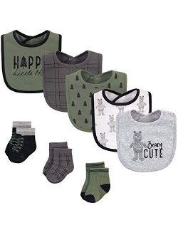 Unisex Baby Cotton Bib And Sock Set