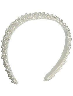 Darice V35231-01 Pearl Beaded Bridal Headband, White, 1-Inch