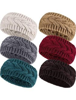 3 or 6 Pieces Headband Women's Cable Knitted Hairband Winter Chunky Ear Warmer (Assorted Color, 6 Pieces)