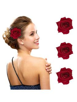 """FIOBEE 2.75"""" Rose Hair Clip Flower Hairpin Rose Brooch Floral Clips for Woman Girl Party Wedding Pack of 3"""