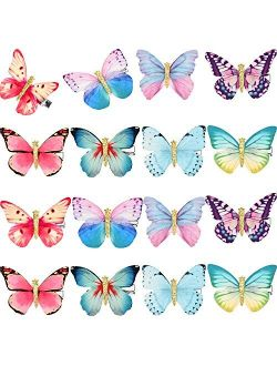 16 Pieces Butterfly Clips Baby Hair Clips Butterfly Glitter Barrette for Women Girl and Infant