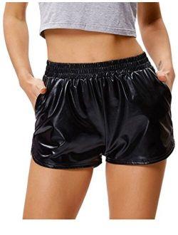 Kate Kasin Women's Yoga Hot Shorts Shiny Metallic Pants with Elastic Waist